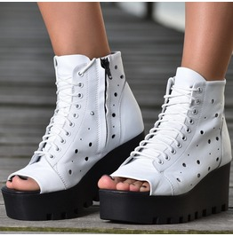 White Genuine Leather Espadrilles/Woman Genuine Leather Wedges/Genuine Leather Platform Sandals/Summer Platform Boots