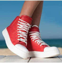 Red Genuine Leather Sneakers/Extravagant Red Must Have Sneakers