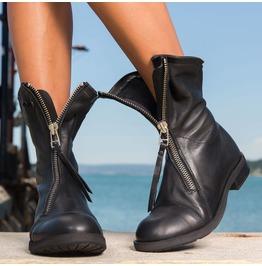 Black Asymmetric Zipper Boots/Woman Genuine Leather Boots/Extravagant Genuine Leather Boots