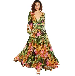 Free Spirit Boho Lantern Sleeve Maxi Dress