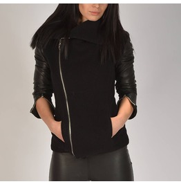Woman Cashmeere Jacket/Leather Cashmeere Jacket/Woman Cashmeere Jacket With Genuine Leather Sleeve/Extravagant Black Coat