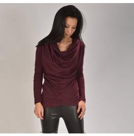 Burgundy Draped Sweater/Burgundy Draped Top/Woman Draped Blouse/Woman Draped Top/Extravagant Burgundy Sweater