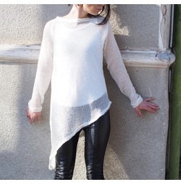 White Asymmetric Sweater/White Asymmetric Sweater/Asymmetric Knitted Sweater/Woman Knitted Sweater/Asymmetric Simply Sweater