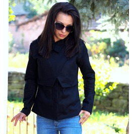 Black Cashmeere Coat/Extravagant Cashmeere Coat/Woman Cashmeere Jacket/Black Wool Jacket/Woman Wool Coat