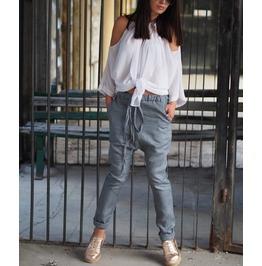 Woman Drop Crotch Pants/Grey Drop Crotch Pants/Linen Drop Crotch Pants/Extravagant Drop Crotch Pants/Linen Casual Pants