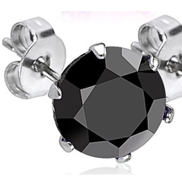 316 L Surgical Stainless Steel Stud Earring Pair 4mm Black Cz