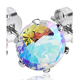 316 L Surgical Stainless Steel Stud Earring Pair 4mm Aurora Borealis Cz