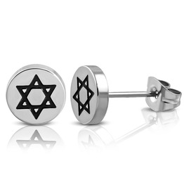8mm Stainless Steel 2 Tone Star Of David Circle Stud Earrings Pair