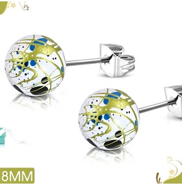 8mm Art Paint White Acrylic Bead Ball With Stainless Steel Stud Earrings