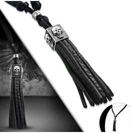 Alloy 2 Tone Skull Cube Tassel Charm Adjustable Black Leather Necklace