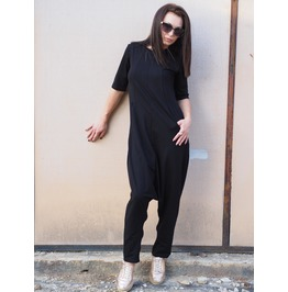 Woman Drop Crotch Jumpsuit/Black Drop Crotch Jumpsuit/Black Loose Jumpsuit/Daily Jumpsuit/Woman Casual Overalls/Express Delivery Wit Dhl