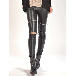 Woman Genuine Leather Leggings/Black Genuine Leather Leggings/Extra Long Genuine Leather Leggings