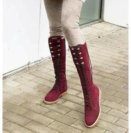 Woman Burgundy Boots/Genune Nubuck Boots/Woman Nubuck Boots