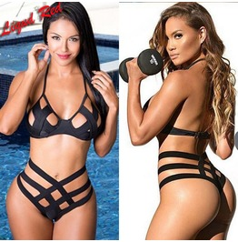 X Bandage Black Harness Swimsuit Lingerie