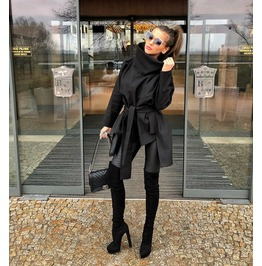 Woman Asymmetric Jacket/Blacl Asymmetric Jacket/Loose Asymmetric Casual Jacket/Plus Size Woman Poncho/Oversized Woman Poncho