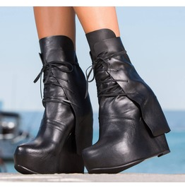 Black Genuine Leather Platform Boots/Woman Must Have Ankle Boots/Extravagant Genuine Leather Platform Boots