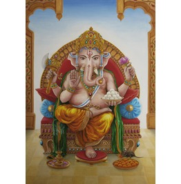 Oil Painting, Ganesha, Hindu Diety, Obstacle Remover.
