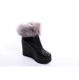 Woman Genuine Leather Must Have Ankle Boots/Extravagant Genuine Leather Platform Boots/Genuine Leather Fox Fur Boots