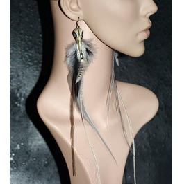 Feather Earrings Long Raven Jewelry Crow Skulls