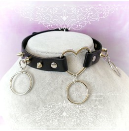 Bdsm Daddys Girl Choker Necklace Black Faux Leather Heart Spikes O Rings Ki