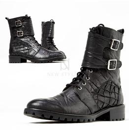 Elephant Patterned Leather Biker Boots 426
