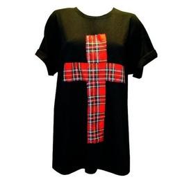 Pretty Disturbia Black Red Tartan Cross Punk Grunge Unisex Rockabilly Mens