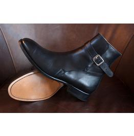 Handmade Men Black Leather Jodhpurs, Men Black Ankle Boots,, Men Boots
