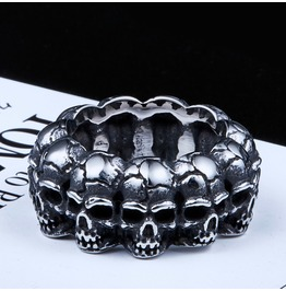 Mens Titanium Stainless Steel Ring Skull Punk Biker Goth