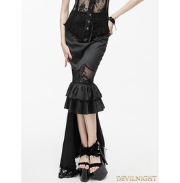 Black Gothic High Low Fishtail Skirt Eskt006