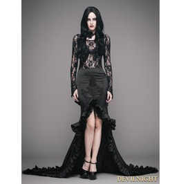 Black Vintage Gothic Elegant Fishtail Skirt Eskt010
