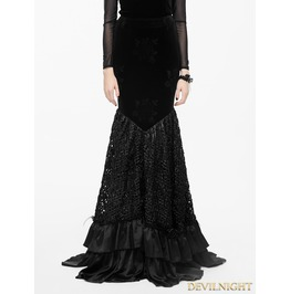 Black Floral Pattern Velvet Gothic Fishtail Skirt Eskt013