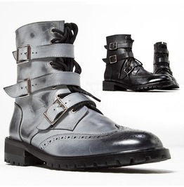 Triple Belted Lace Up Wing Tip Boots 427