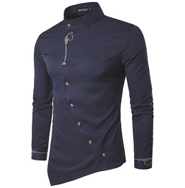 Urban Men's Oblique Button Shirt With Mandarin Collar