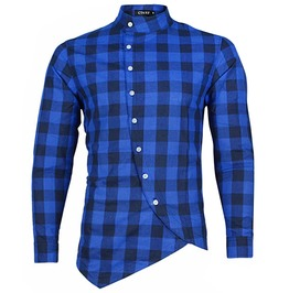 Urban Men's Slim Fit Plaid Oblique Button Shirt