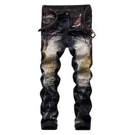 Punk Rock Biker's Washed Denim Jeans