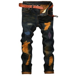 Punk Rock Men's Distressed Slim Fit Jeans