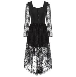 Black Gothic Corset Lace Dress