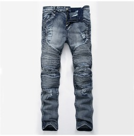 Biker Ripped Washed Denim Men Jeans Size Up To 42