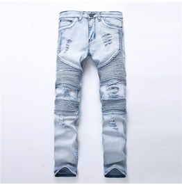 Washed Ripped Denim Men Jeans Size Up To 42