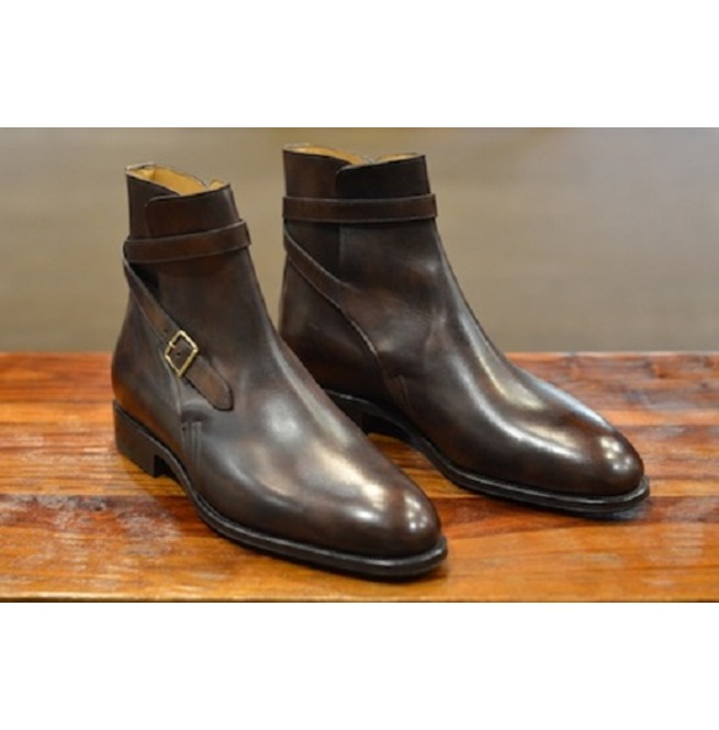 5dc843fe6a4 Handmade Men Brown Leather Jodhpurs, Men Dark Brown Ankle Boots, Men Ankle