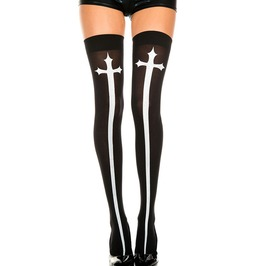 Sexy Gothic Cross Print High Stocking