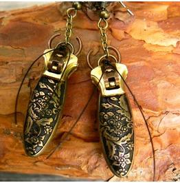 Steampunk Beetle Zipper Earrings