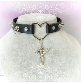 Bdsm Gothic Choker Necklace Black Faux Leather Heart O Ring Spikes Cross Pe