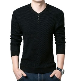 Urban Knitted V Neck Pullover Men's Shirt