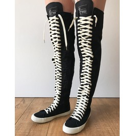 Rtbu Oreo 35 Hole Punk Thigh Hi Canvas Laceup Zip Skateboard Sneaker Boots