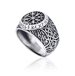 Sterling 925 Silver Viking Vegvisir Runes Futhark Mjolnir Handmade Ring