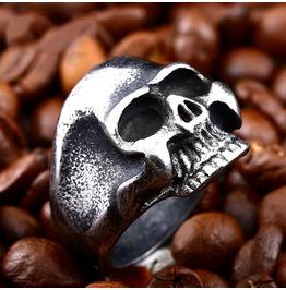 Men's Gothic Skull Biker Titanium Stainless Steel Ring