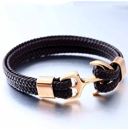 Unisex's Nautical Anchor Ship Cuff Rope Twining Weave Bracelets