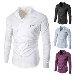Trendy Men's Asymmetric Long Sleeve Top