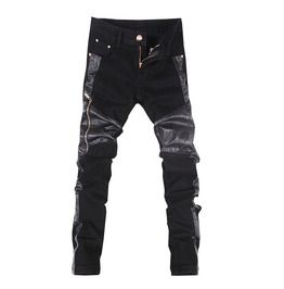 Biker Zipper Vegan Leather Men's Jeans
